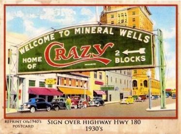 MineralWellsTXHomeOfcrazyWaterPostcard1930SF